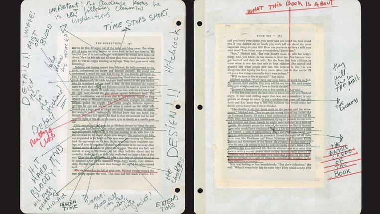 Pagina's uit het notitieboekje van Francis Ford Coppola voor The Godfather. Beeld Regan