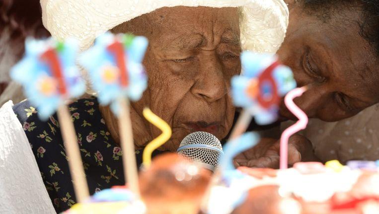 Susannah Mushatt Jones op haar verjaardag, toen ze 116 werd.