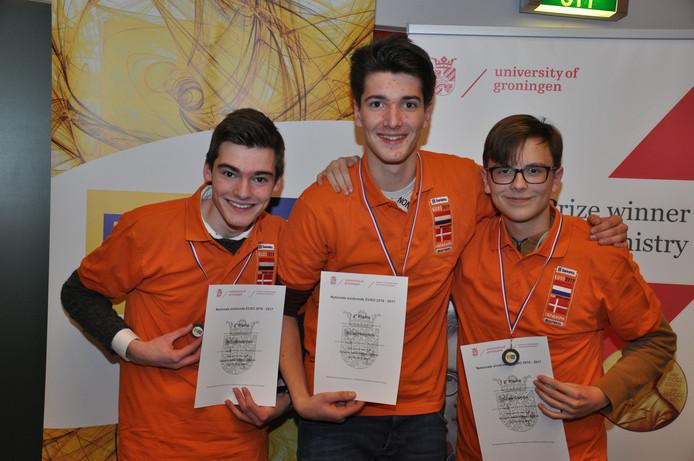 De Bredase leerlingen Tido Houtepen, Daan Hoogers, Sean Camps vertegenwoordigen Nederland in Kopenhagen.