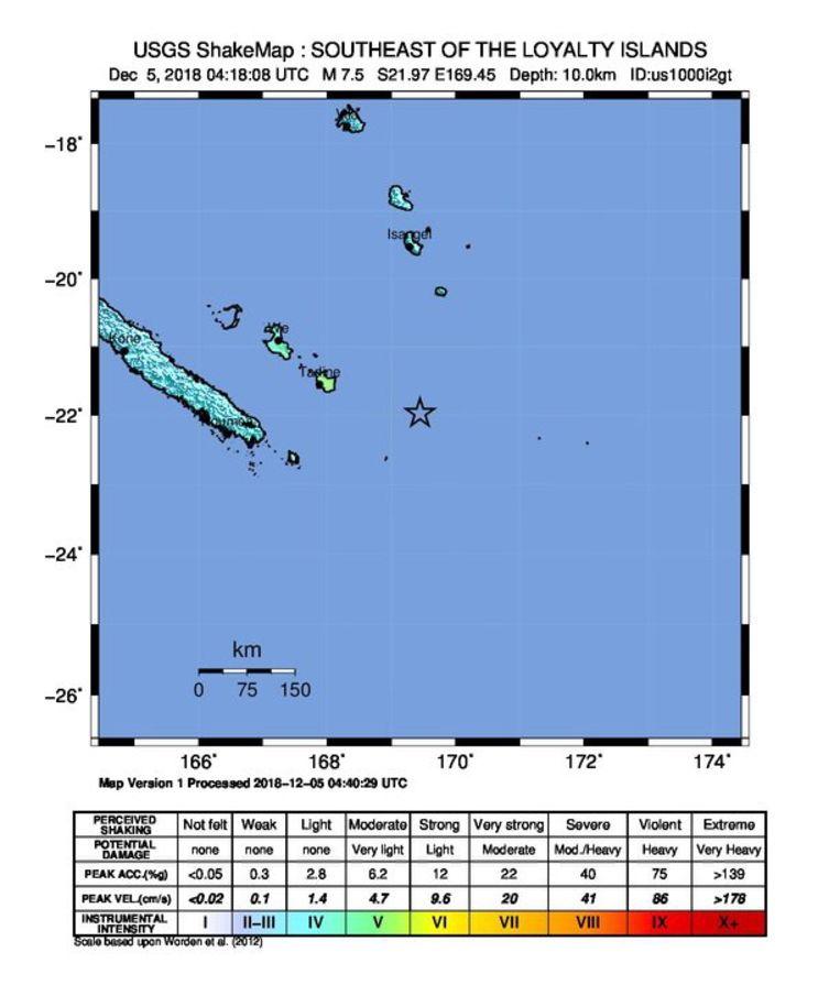 De locatie van de aardbeving.