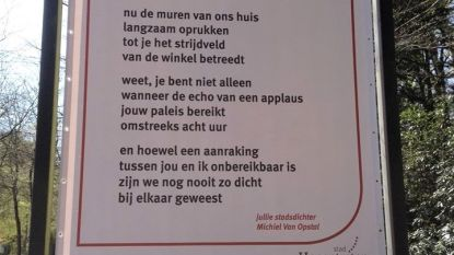 'Coronagedicht' van  Michiel Van Opstal verschijnt in het straatbeeld naast poëtische wegwijzers