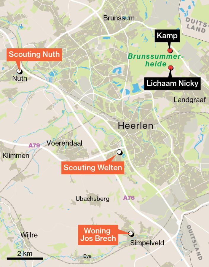 Jos Brech fietste volgens eigen zeggen voor Scouting-post door de Brunssummerheide.