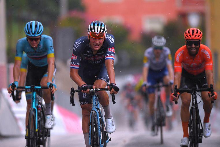 Mathieu van der Poel tijdens de Gran Piemonte waarin hij als derde finishte. Beeld Getty Images