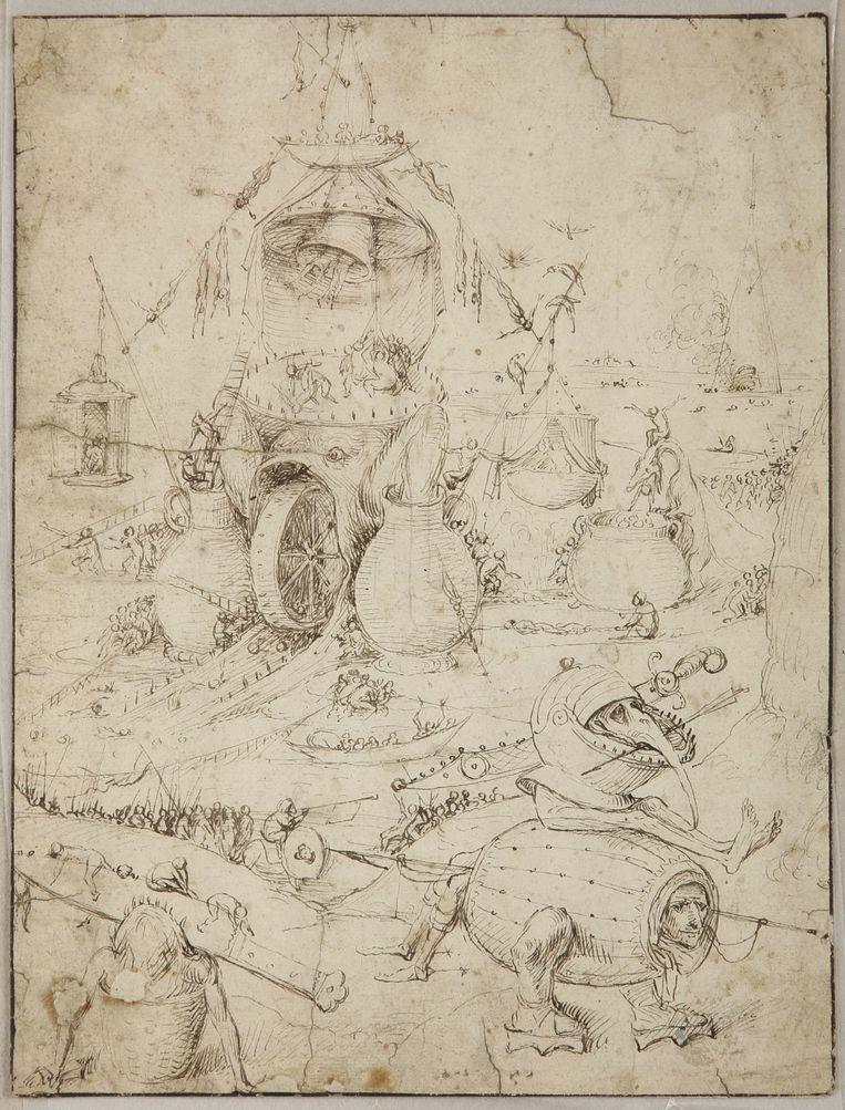 Jheronimus Bosch, Hellelandschap, circa 1500, pen met bruine inkt op papier, 259 x 197 mm, privécollectie. De monsters hebben volgens specialist Matthijs Ilsink veel overeenkomsten met die op het echterluik van Bosch' beroemde Tuin der Lusten. Beeld null