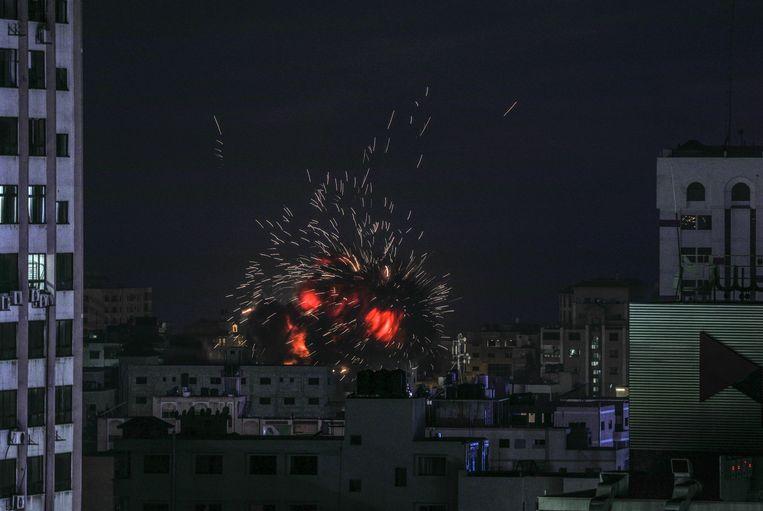 Archiefbeeld van een eerdere aanval van het Israëlische leger op Gaza-Stad  op 4 mei 2019.