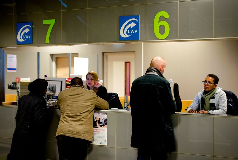 Werkzoekenden bij het Werkplein van het UWV in Amsterdam. (foto ter illustratie) Beeld ANP XTRA