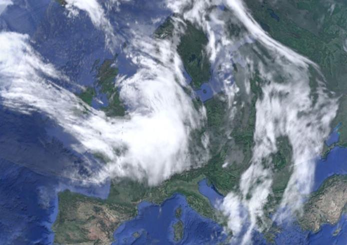 Het weer boven Europa en ons land vanochtend.