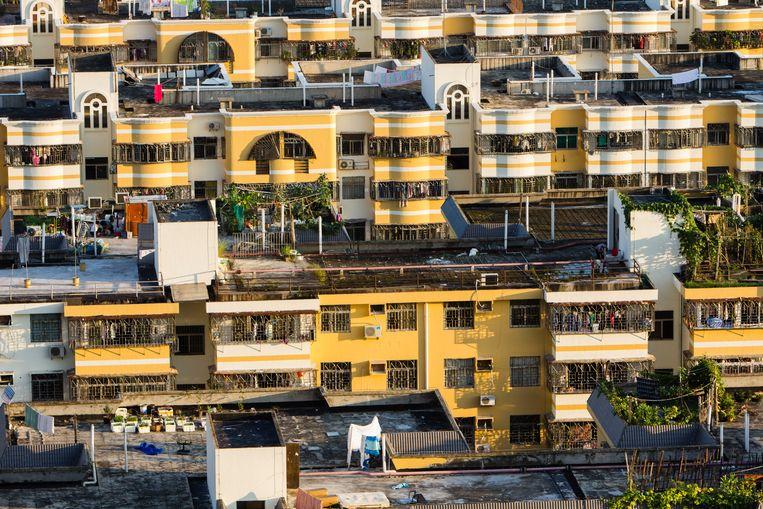 Boven de daken van Shenzen, en onder flats in Hongkong. De twee metropolen zijn aaneengegroeid, maar culturele verschillen blijven. Beeld Hollandse Hoogte / Redux Pictures