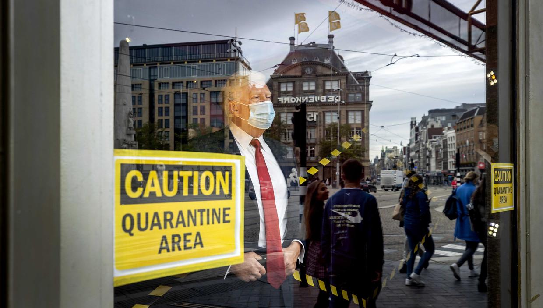 Het wassen beeld van de Amerikaanse president Donald Trump is bij Madame Tussauds ook 'in quarantaine' geplaatst.  Beeld ANP