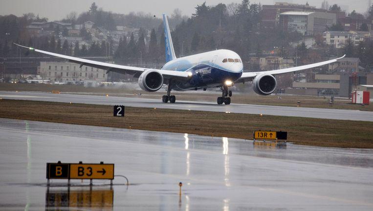 15 December 2009, de eerste vlucht van de Boeing 787 Dreamliner. Foto AP Beeld AFP