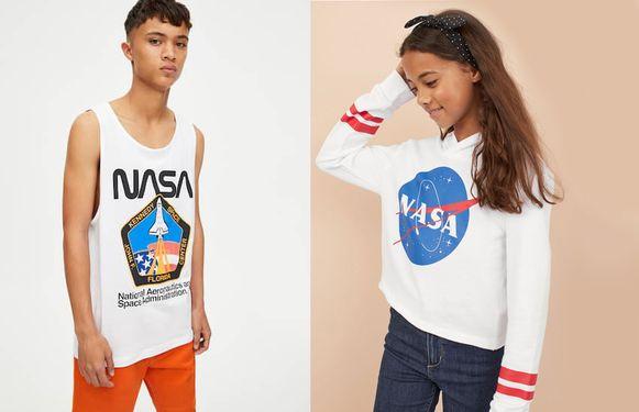 Links: NASA-singlet bij Pull&Bear. Rechts: hoodie met NASA-logo bij H&M.