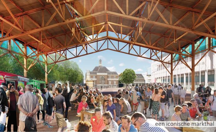 Een prominent onderdeel van het nieuwe plein is een markthal.