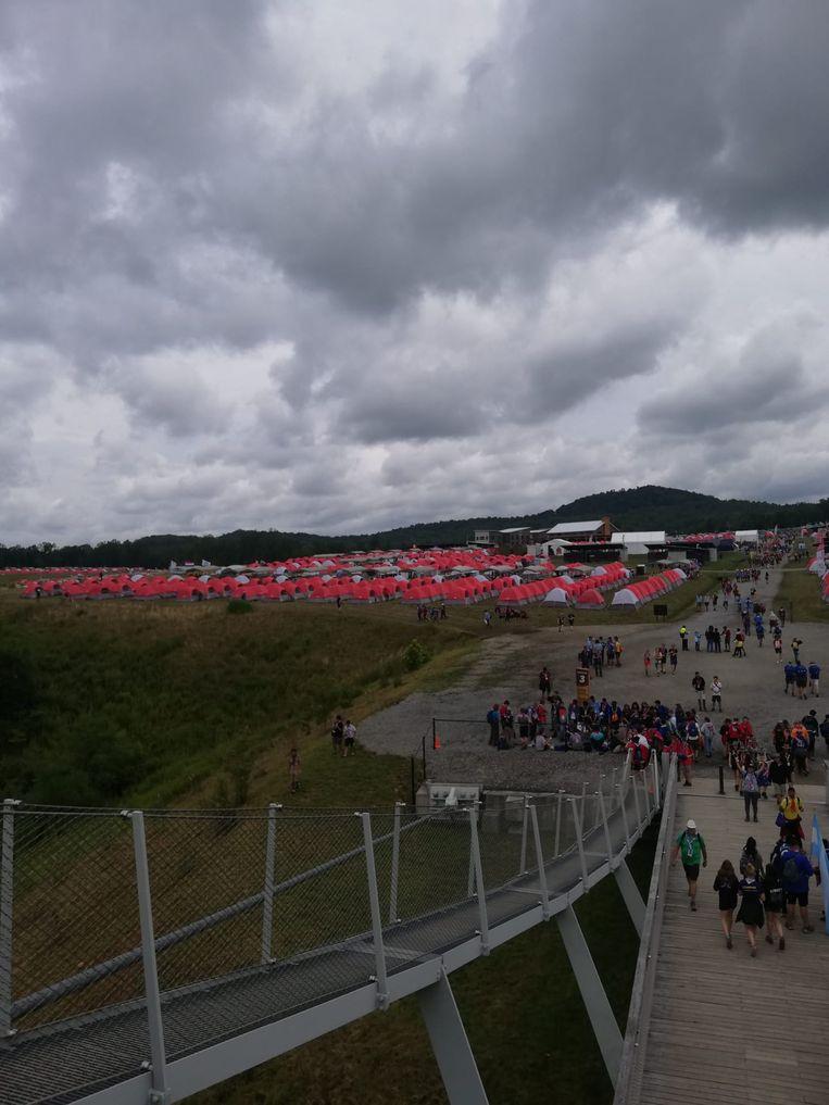 Het gigantische tentenkamp van de Wereldjamboree in West-Virginia.