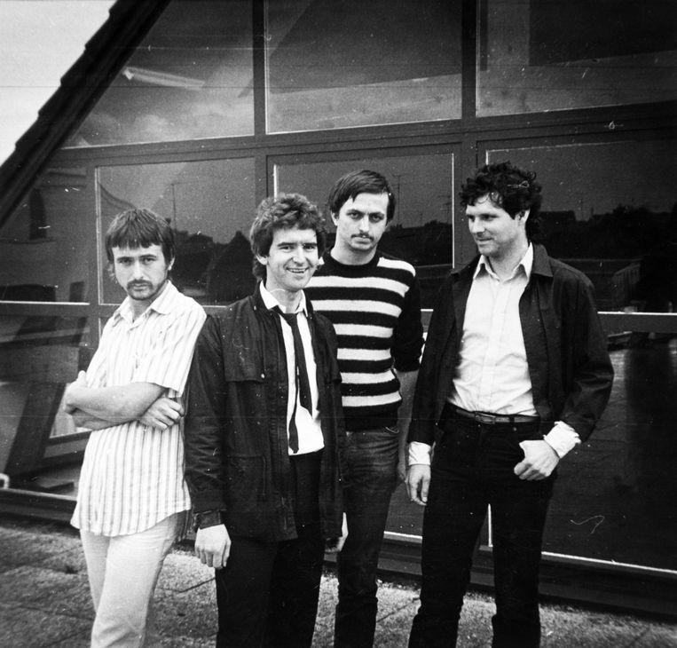 Een foto van de groep uit 1979 aan Ter Dilft. Vlnr: Paul Ielegems, Theo Van Hemelrijk, Renaat Boeykens en Harry Woods.