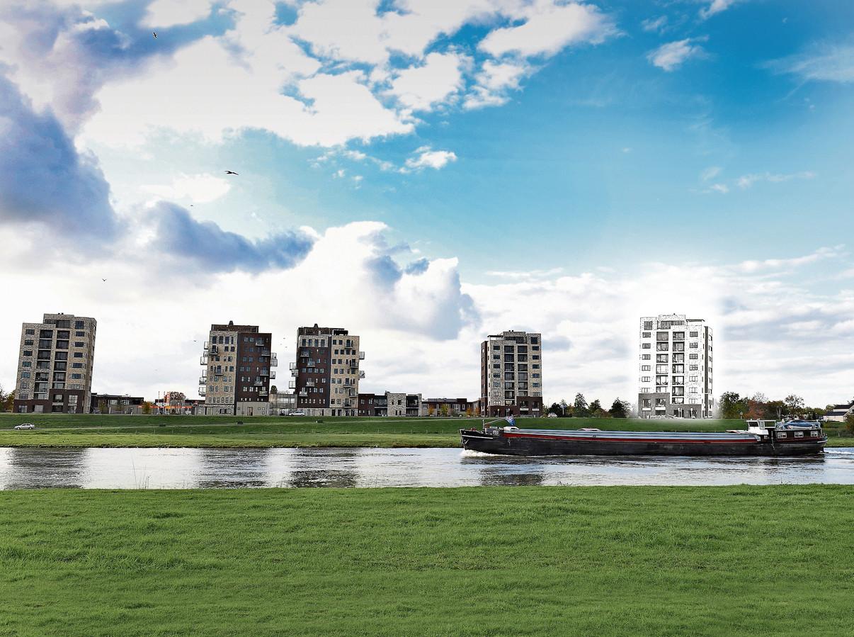 Als de woontoren (rechts) er komt, zou dit in 2023 de nieuwe skyline langs de Maas in Cuijk kunnen worden.