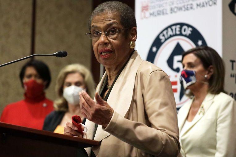 Eleanor Holmes Norton zit namens Washington DC in het Amerikaanse Huis van Afgevaardigden, maar heeft geen stemrecht. Het Huis stemde voor het eerst voor een wetsvoorstel dat DC tot de 51ste staat van Amerika moet maken. Beeld AFP