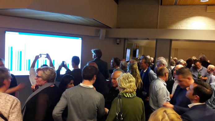 Op de verkiezingsavond werden de uitslagen nauwlettend gevolgd door de Heusdense politici.