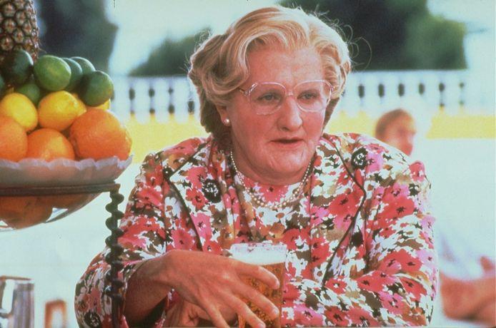 Robin Williams in zijn rol als Mrs. Doubtfire.
