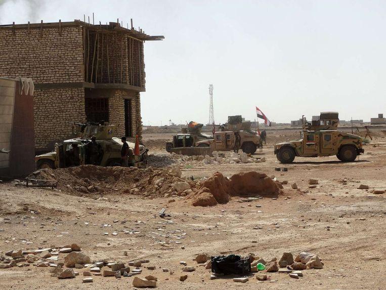 Iraakse troepen in de westelijke Iraakse provincie Anbar. Beeld afp
