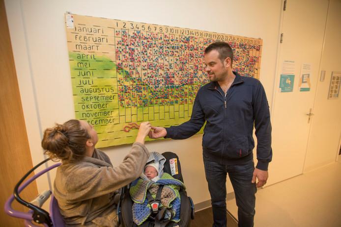 Lotte en Antoon Derks prikken een blauwe pin op het geboortebord voor hun kersverse zoontje Jip. Fotos Jurriaan Balke/fotomeulenhof