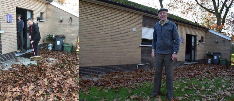 Links: Geert Asman ruimt bladeren. Rechts: René Sterck de dag voordien.