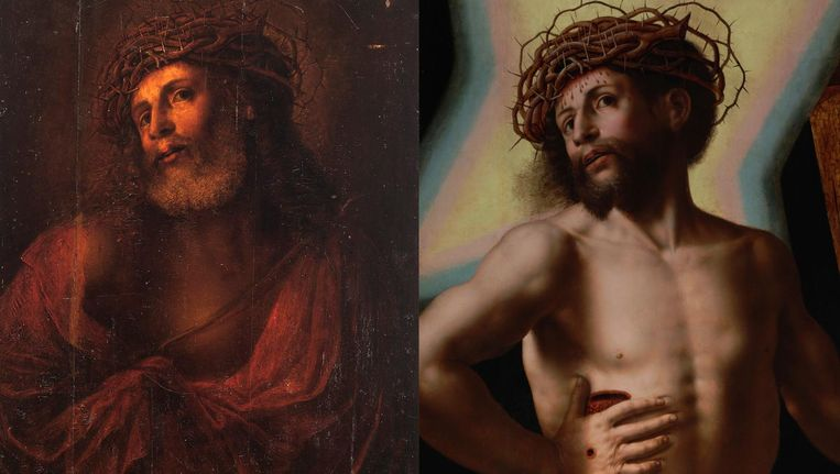 Het schilderij van Jezus Christus voor en na de schoonmaakbeurt. Beeld Kunsthandel Bijl-Van Urk