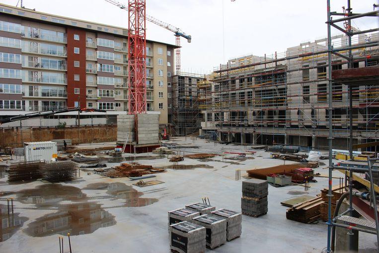 De werken aan het woonproject op het Marktplein gaan goed vooruit.