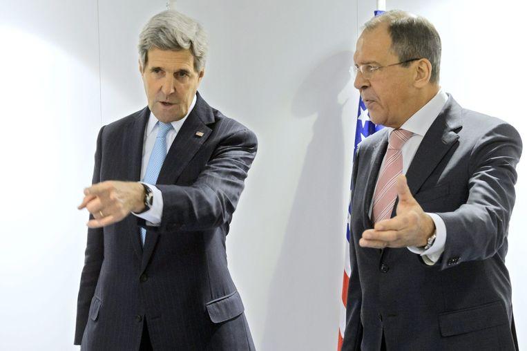 De Amerikaanse minister John Kerry van Buitenlandse Zaken en zijn Russische ambtgenoot Sergej Lavrov Beeld anp