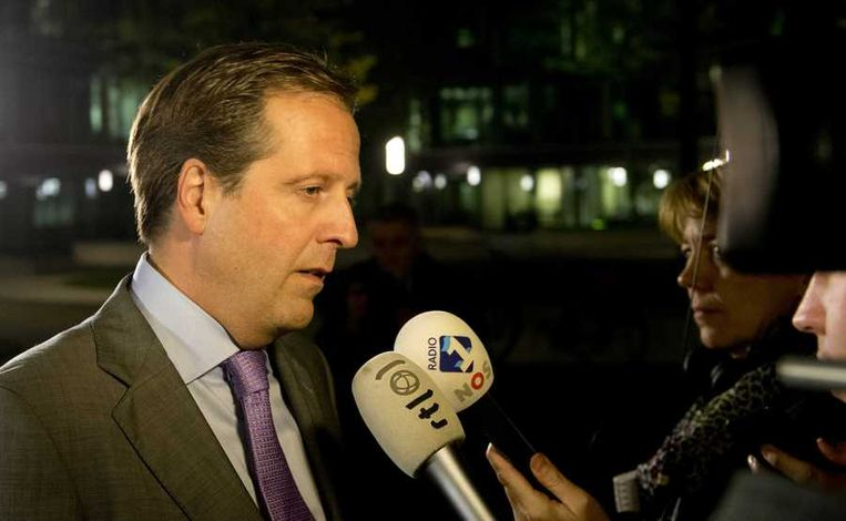 Fractievoorzitter Alexander Pechtold van D66 komt aan voor het overleg. Beeld anp