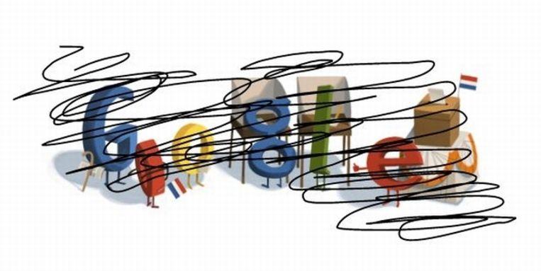 De Google Doodle van de verkiezingen in Nederland (in een bewerking). Beeld