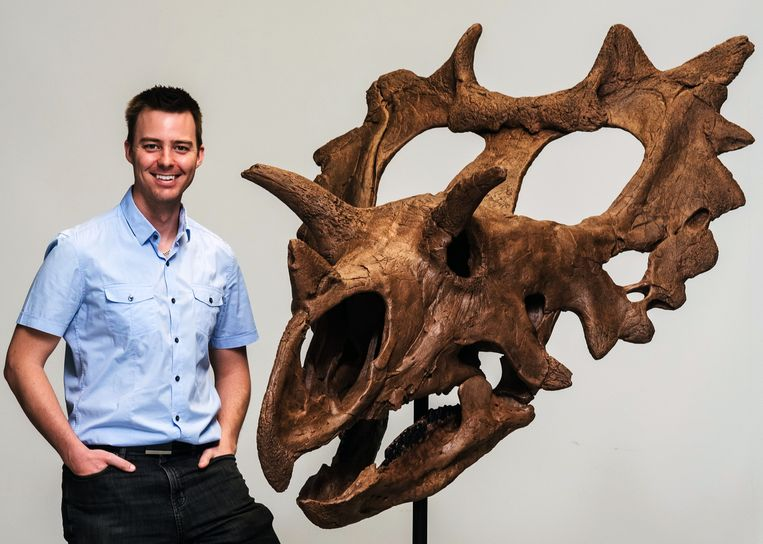 Jordan Mallon, paleontoloog van het Canadese Natuurmuseum in het Canadese Ottawa met een model van de schedel van 'Judith'.