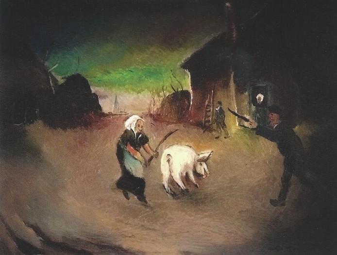 Schilderij van Antoon Kruisen over het slachten van een varken.