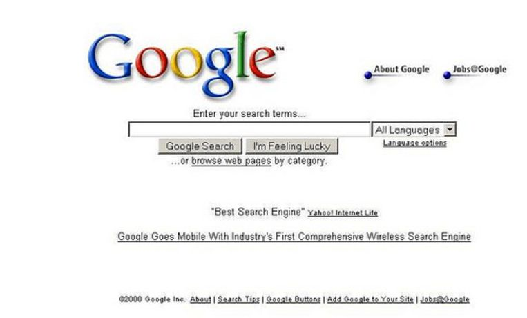 Zo zag Google eruit in 2000.