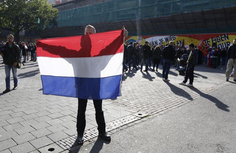 Pegida-demonstrant in Utrecht Beeld anp