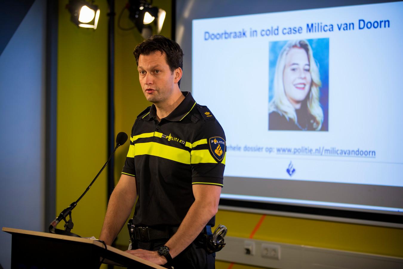 Een persconferentie over de aanhouding van een verdachte in de zaak Milica van Doorn.