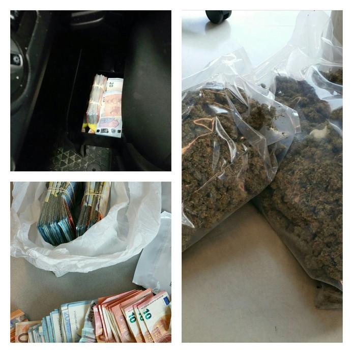 Bij een fouilleeractie op de Slaghekstraat vond de politie in een auto grote hoeveelheden geld en drugs.