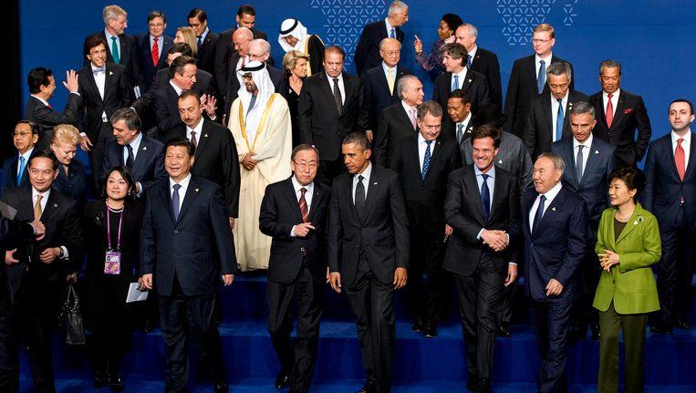 Wereldleiders verzameld tijdens de nucleaire top in Den Haag begin vorige week. Beeld epa