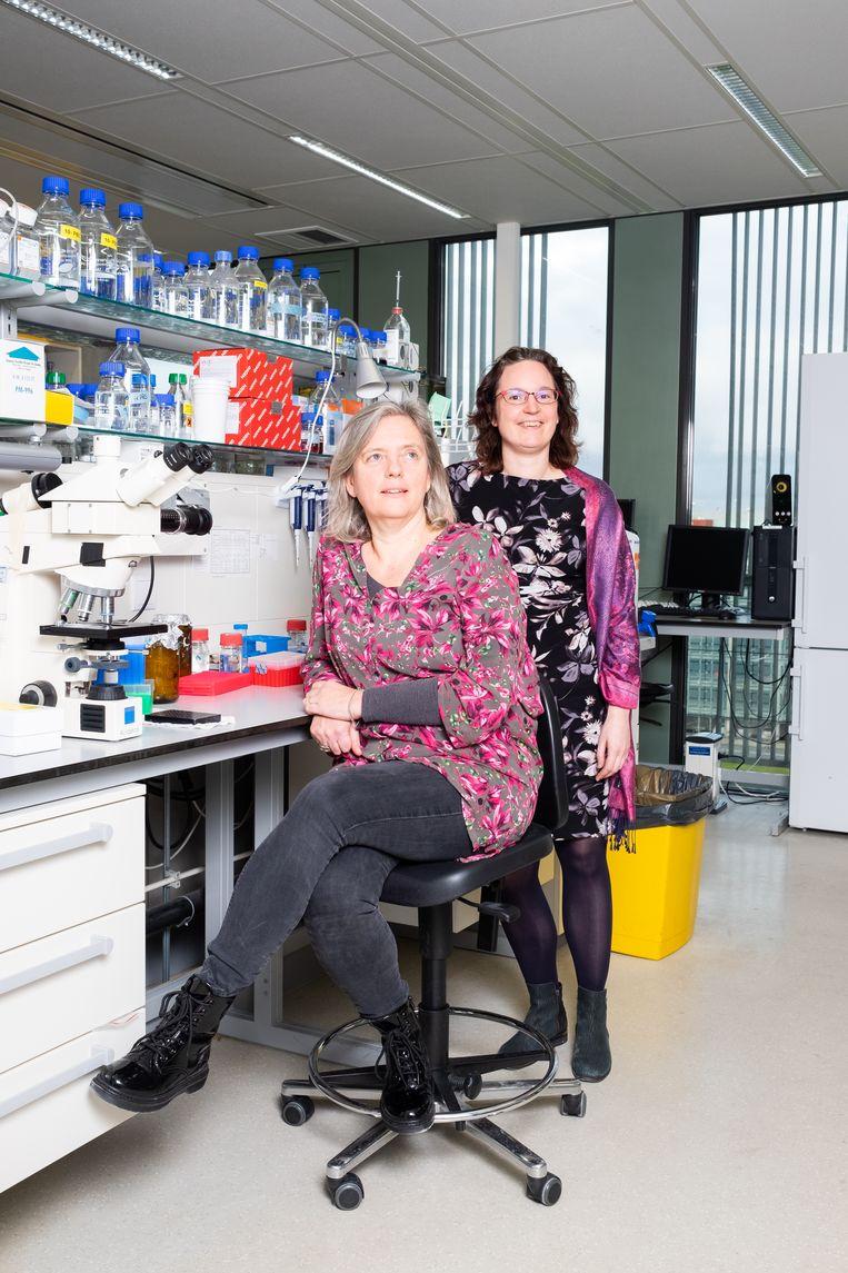 De Leidse onderzoekers Willeke van Roon-Mom en Annemieke Aartsma.  Beeld Sabine Rovers