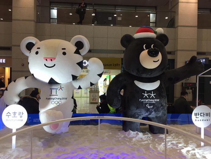 De mascottes voor de Winterspelen in  Pyeongchang.
