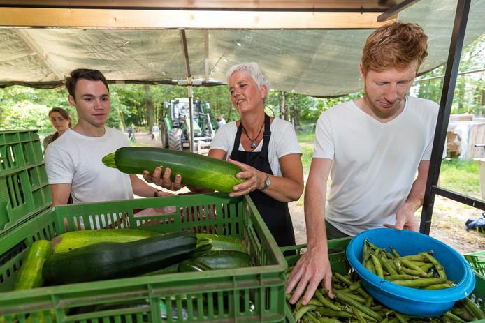 Lia te Poel helpt bij de groente-uitgifte op Herenboerderij Wilhelminapark in Boxtel. Ze heeft dit keer courgettes in alle formaten beschikbaar voor de andere leden.