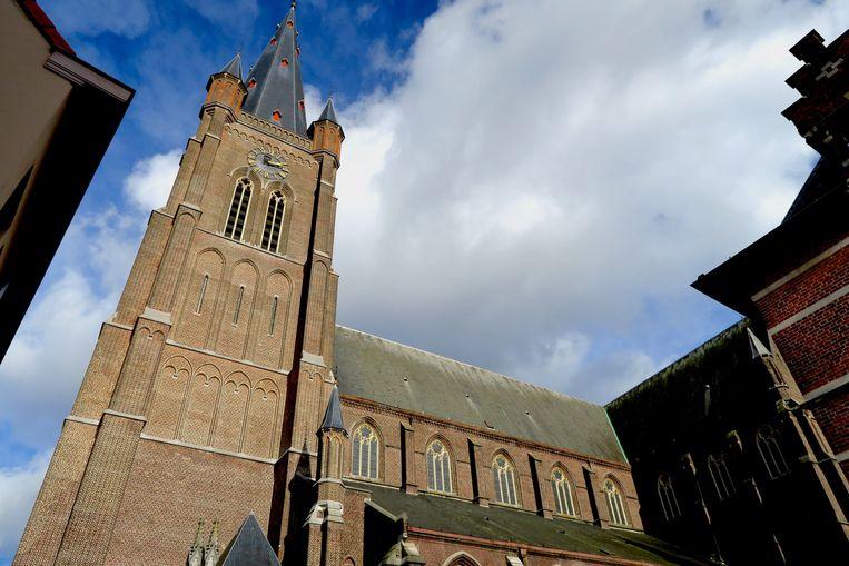 Eeklo: zicht op de imposante dekenale Sint-Vincentiuskerk in het centrum.