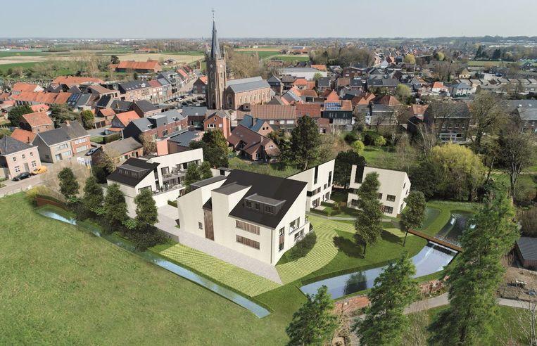 Een luchtbeeld van hoe Hof Ter Prinne er zal uit komen te zien