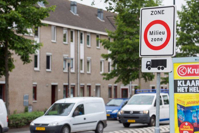 Begin van de milieuzone in de binnenstad van Eindhoven.