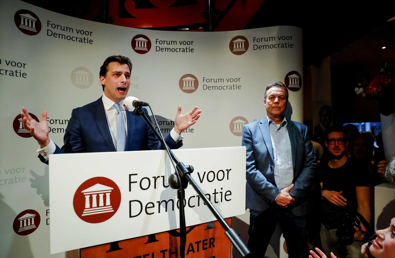ZEIST - Lijsttrekker Thierry Baudet van Forum voor Democratie (FvD) tijdens de uitslagenavond van de Provinciale Statenverkiezingen en de waterschapsverkiezingen.