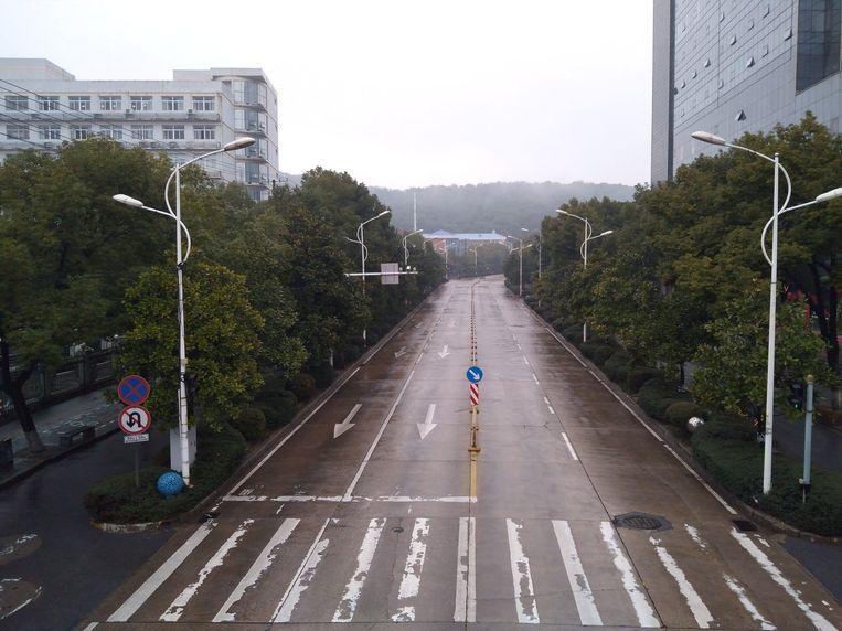 Lege straten in Wuhan