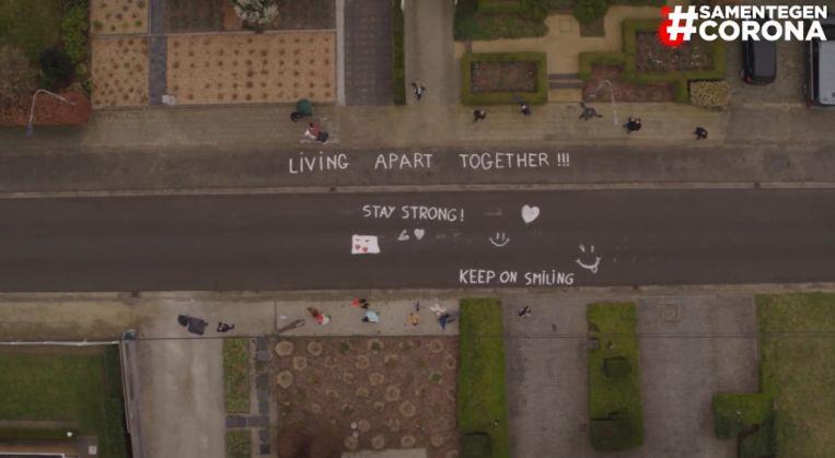 De drone van VTM legde veel hartverwarmende boodschappen vast.