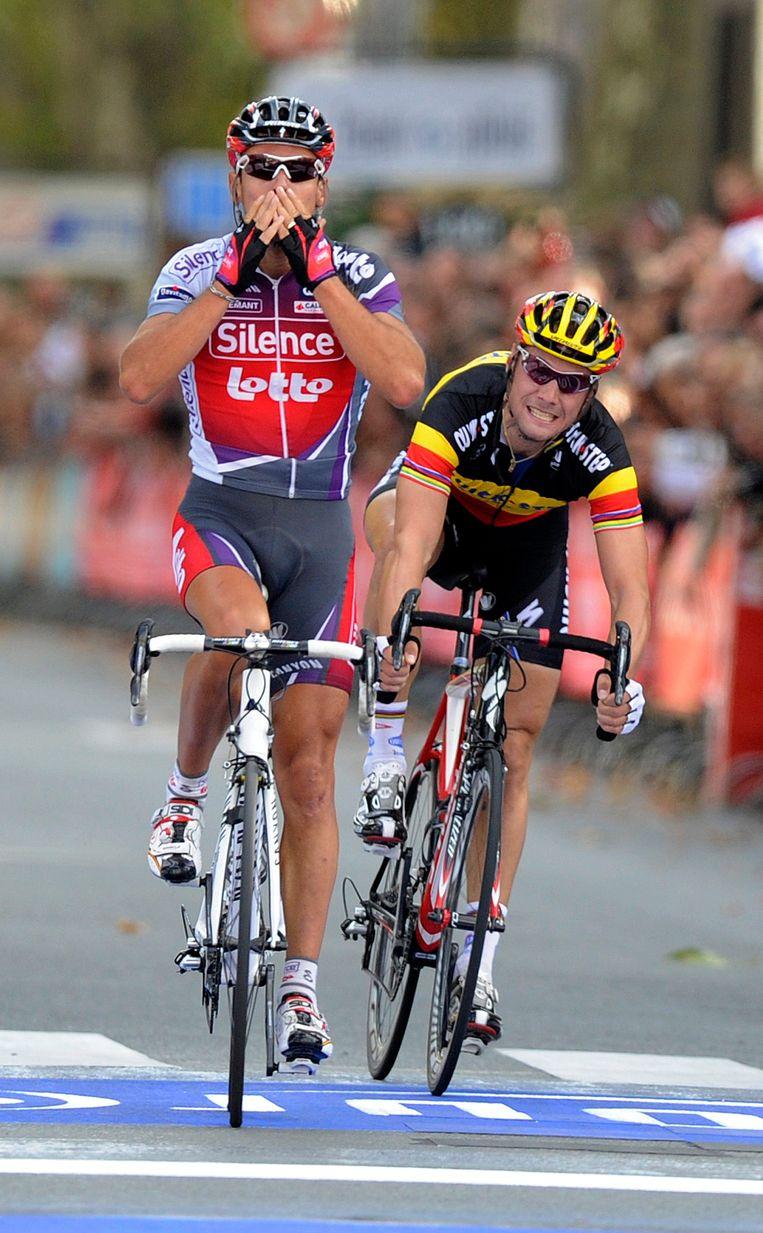 Philippe Gilbert won Parijs-Tours in 2009 na een spurt met Tom Boonen.
