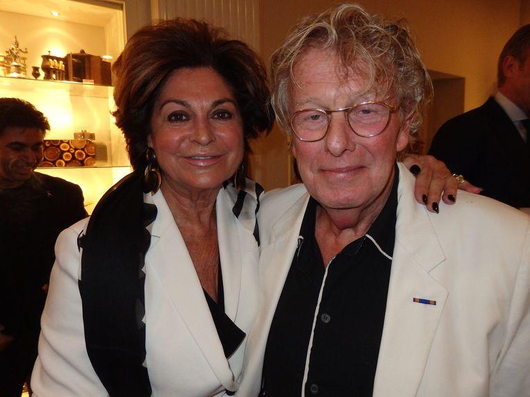 Ontwerper Jan des Bouvrie en Christine Kroonenberg, weduwe van vastgoedmagnaat Jaap Kroonenberg. Méér glamour wordt het niet in Amsterdam. Beeld Schuim