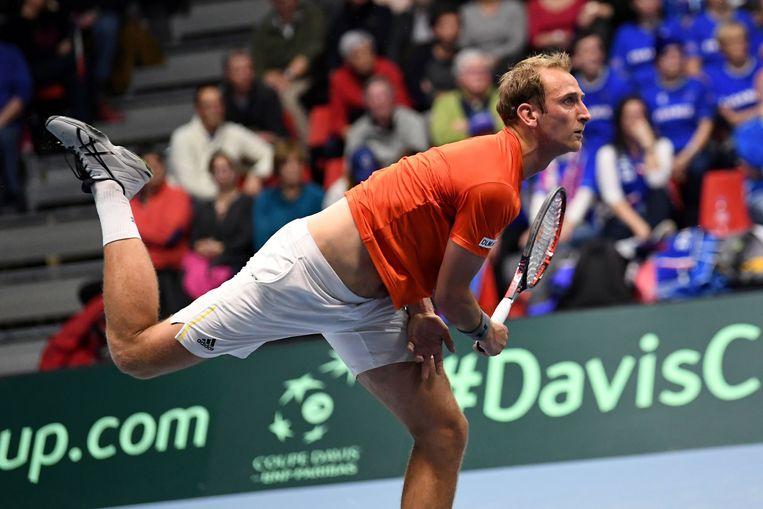 Thiemo de Bakker won in drie sets van Adrian Mannarino, de mondiale nummer 25 Beeld AFP