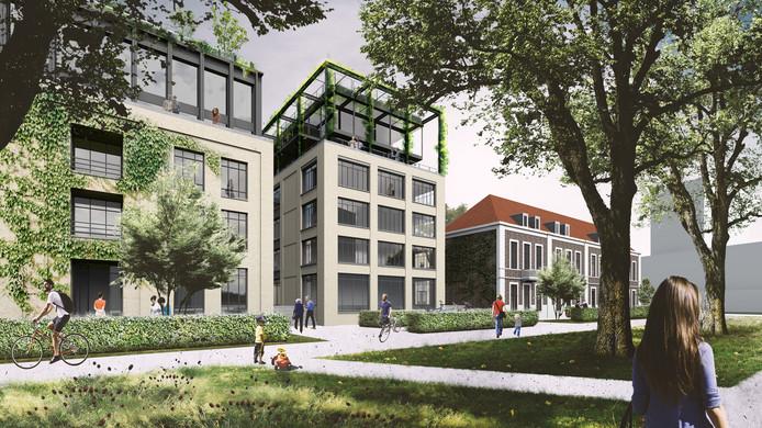 Het schetsontwerp voor het terrein van boterfabriek Batava in Nijmegen, met rechts het oude fabriekspand en links twee van de vier appartementsgebouwen.
